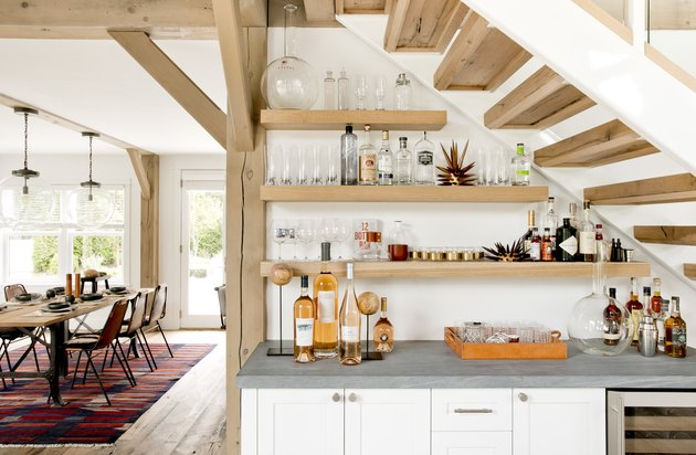 white and wooden rustic bar ideas under stairs