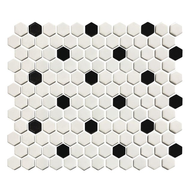 White hexagonal penny tile with black accents