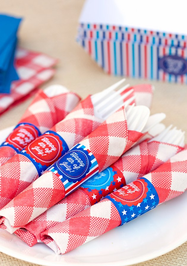 Cutlery wrapped in a plaid napkin
