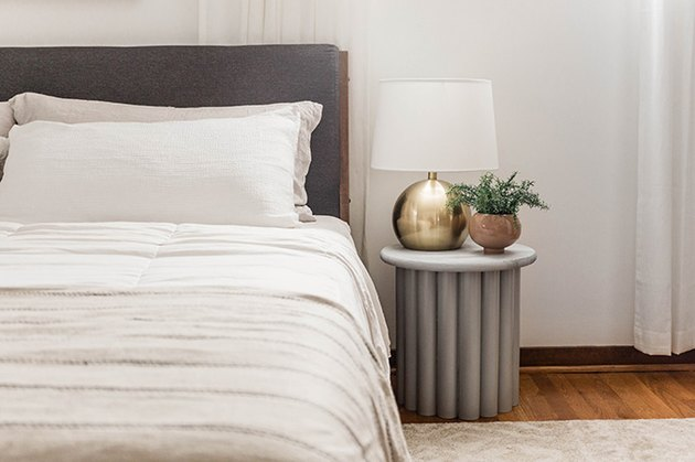 Gray room ideas with DIY side table by Carrie Waller