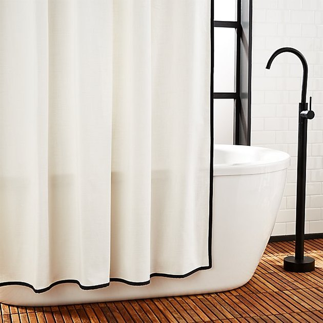 cb2 black and white bathroom shower curtain idea