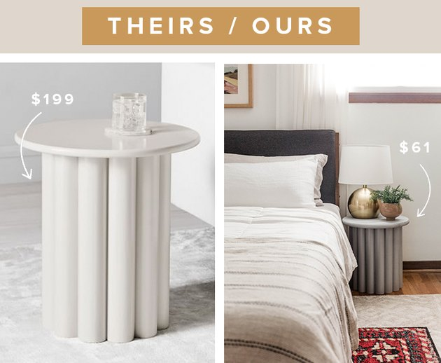 This DIY look-a-like West Elm side table cost less than half of the price of the inspiration piece!