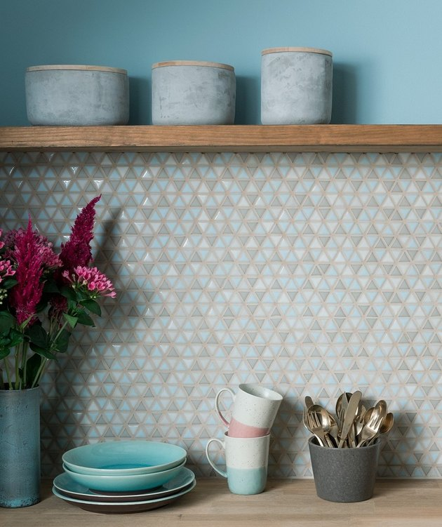 blue and gray mosaic kitchen backsplash