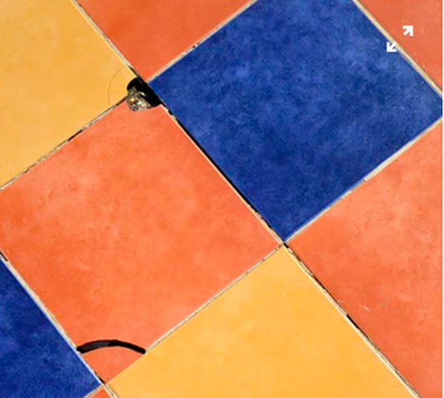 Multicolored damaged tiles.