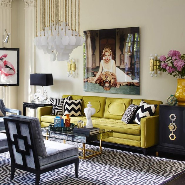 chartreuse color idea in living room with sofa and chandelier