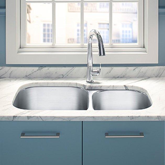 Irregularly shaped kitchen sink.