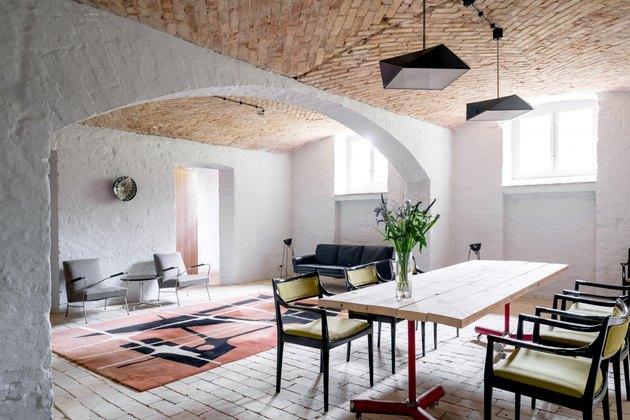 mediterranean brick basement floor ideas