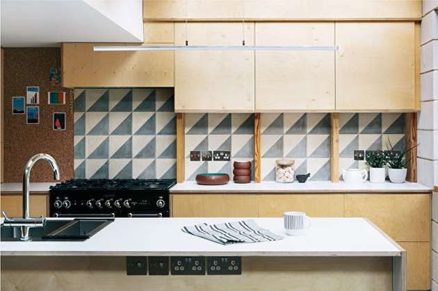 birch midcentury modern kitchen backsplash idea with monochrome mid-century modern backsplah