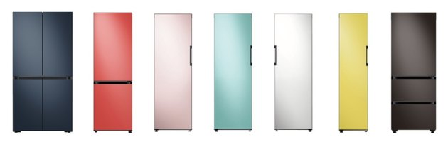line of colorful refrigerators