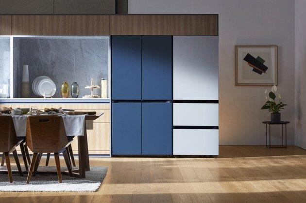 blue and white fridges in minimalist kitchen
