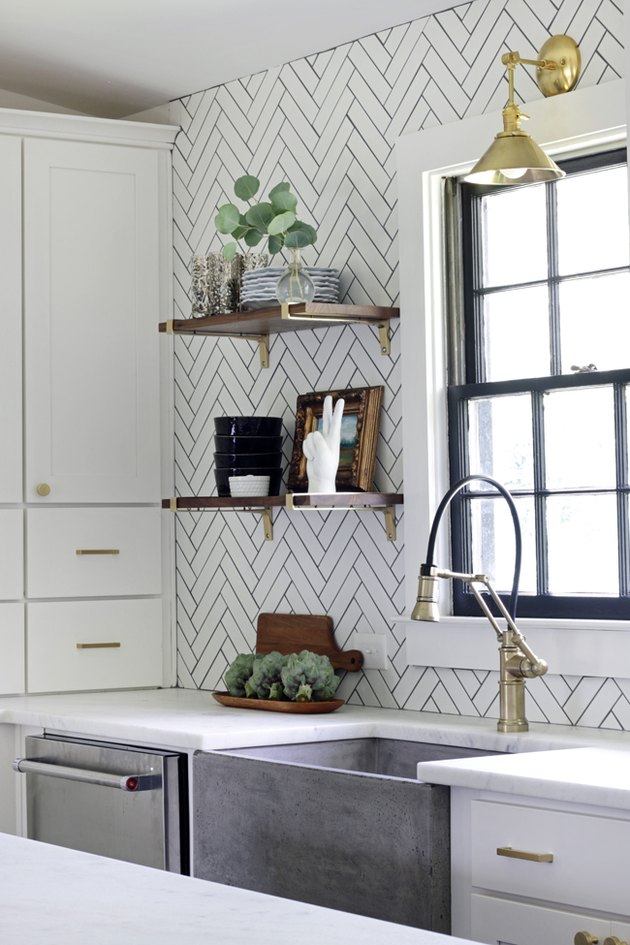 white herringbone subway tile kitchen backsplash