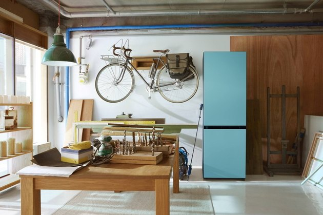 blue fridge in workshop