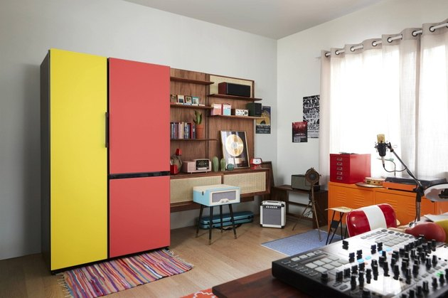 red and yellow fridges in music studio