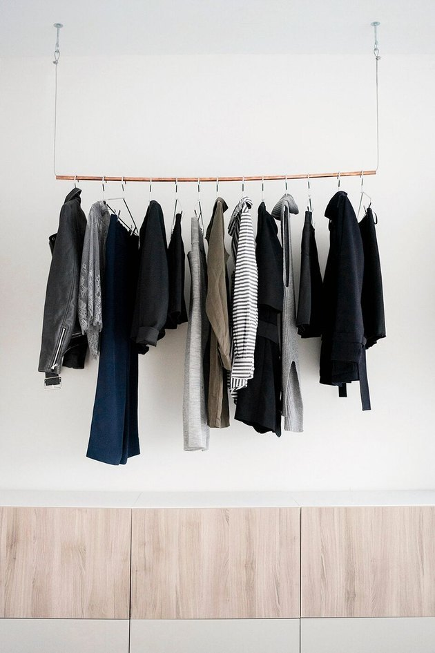 minimalist industrial closet ideas in white room