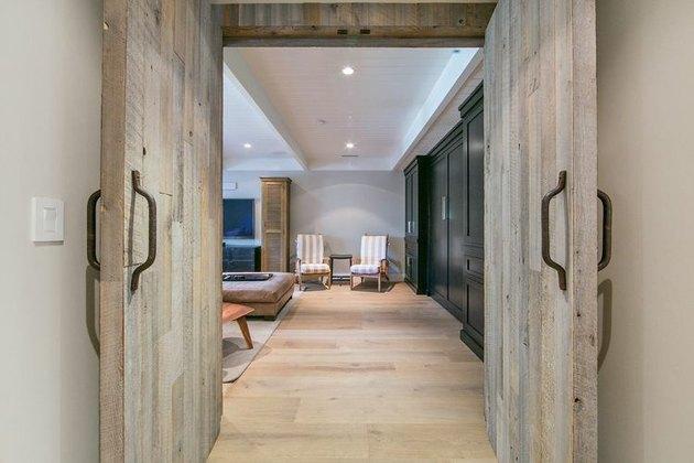 rustic wood basement door ideas