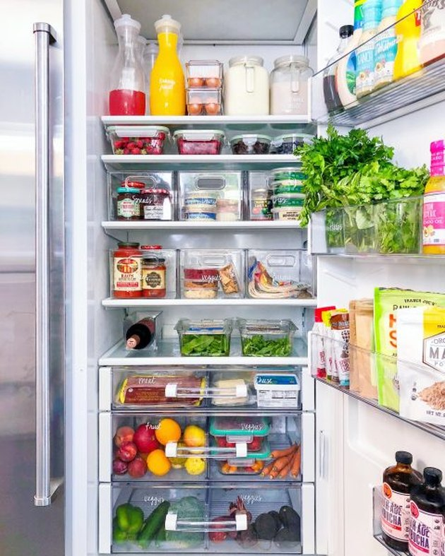small kitchen organization idea in refrigerator