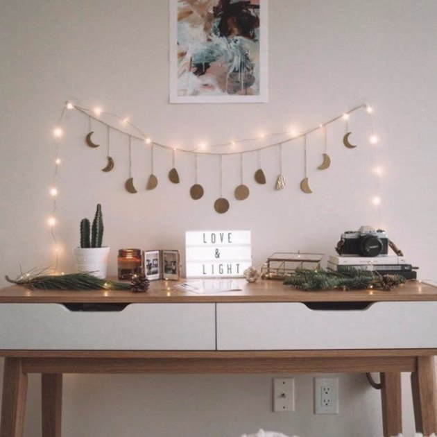 desk with banner and lights