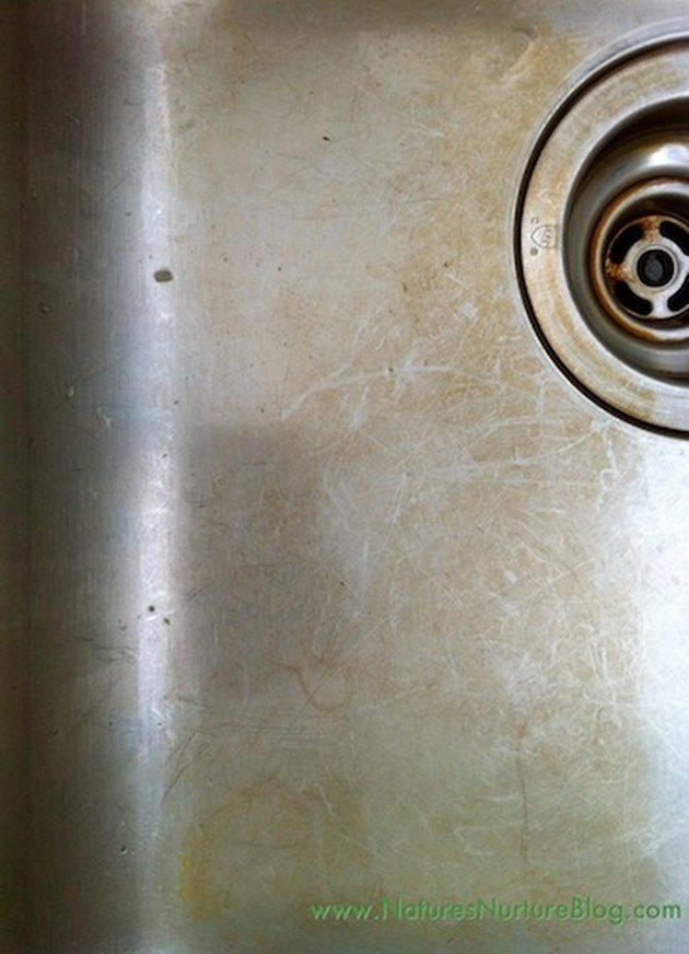 Stained stainless steel sink.