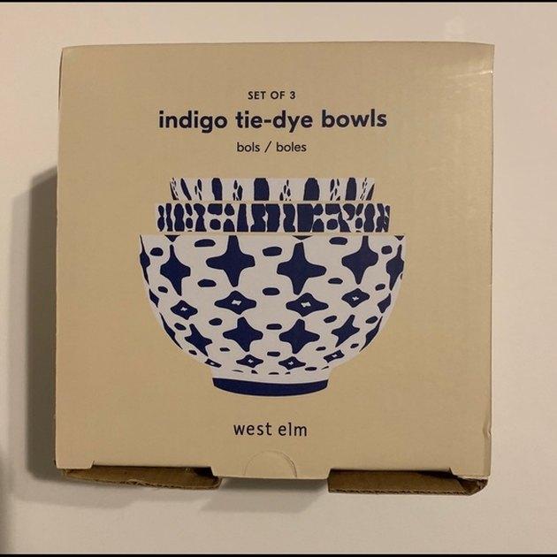 package of indigo tie-dye bowls