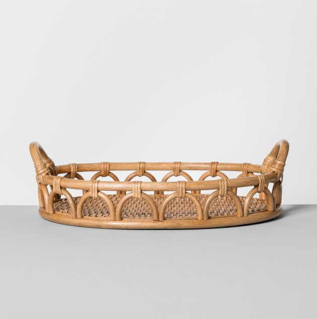 Rattan tray in bohemian kitchen