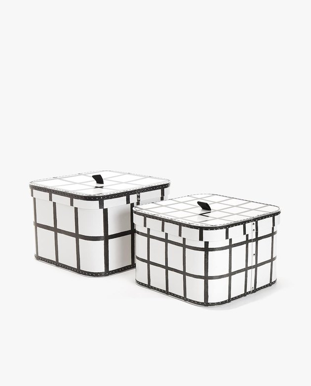 checkered storage boxes