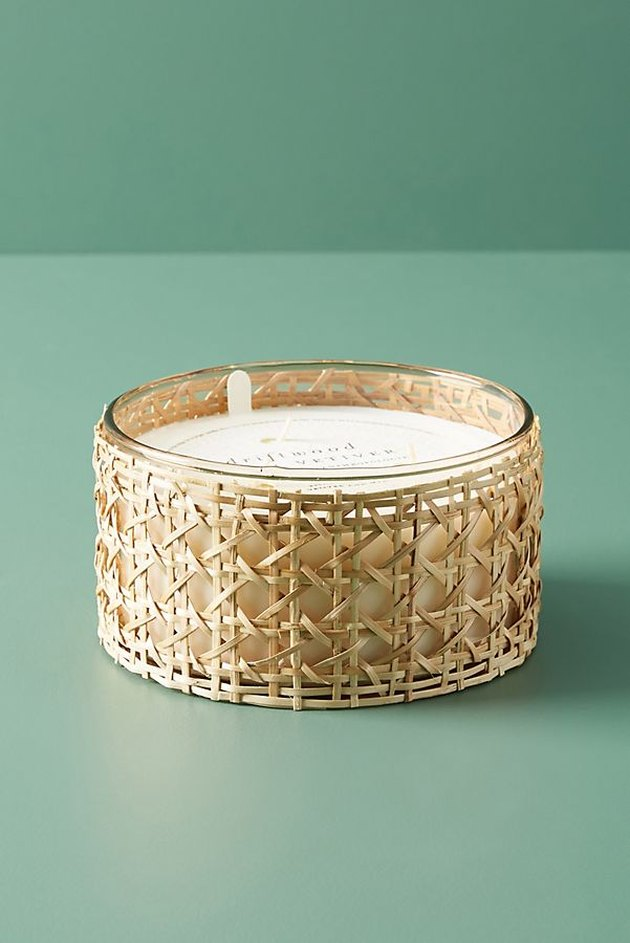 woven rattan candle