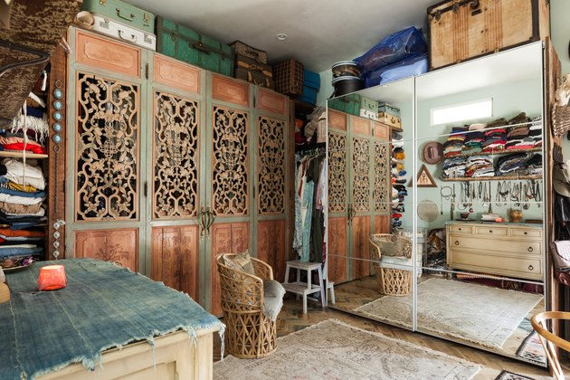boho attic closet ideas with armoire and floor mirror