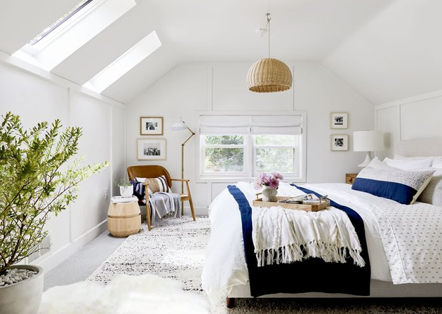 white attic bedroom with contemporary attic bedroom lighting ideas