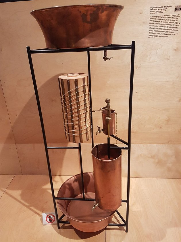 a reconstruction of a Greek water clock