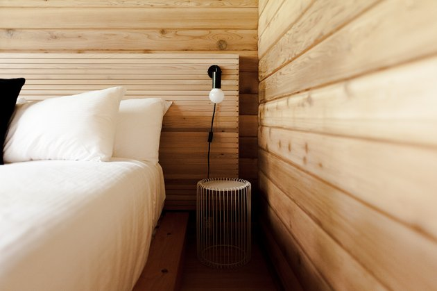 Detail of interior wood work and custom headboards.