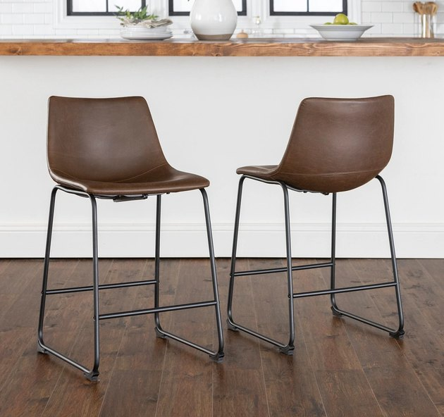Industrial furniture, Overstock bar stools with faux leather and linear metal legs