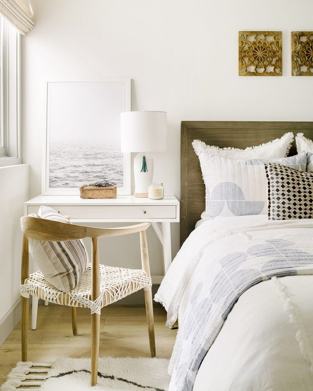 Champagne color painted bedroom designed by Kate Lester Interiors