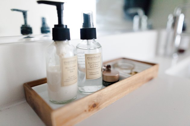 products on tray on bathroom countertop