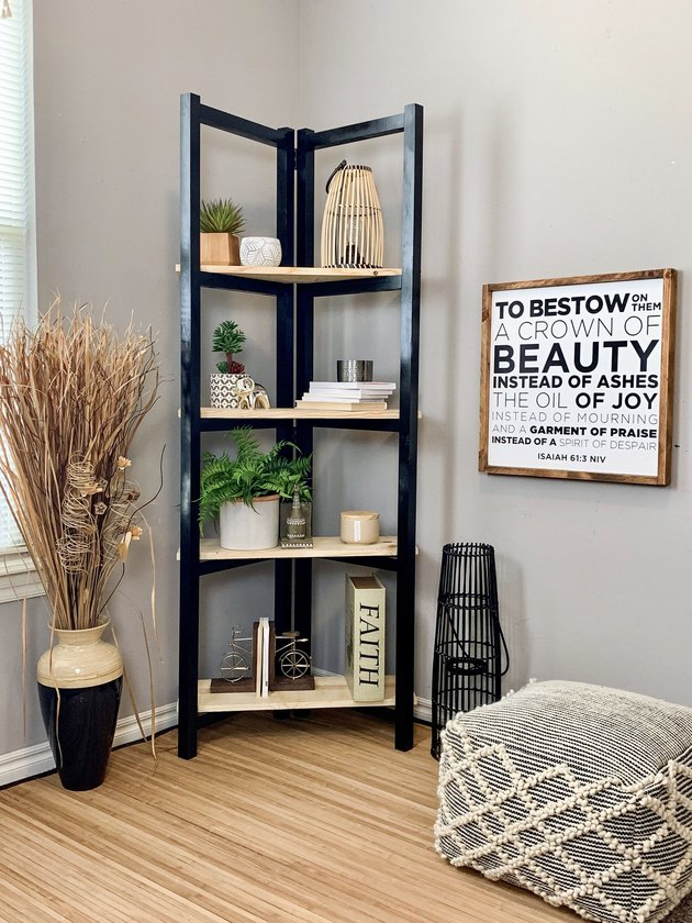 corner ladder DIY industrial bookshelf
