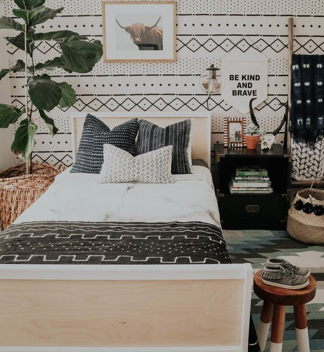 pattern play in boho tribal bedroom