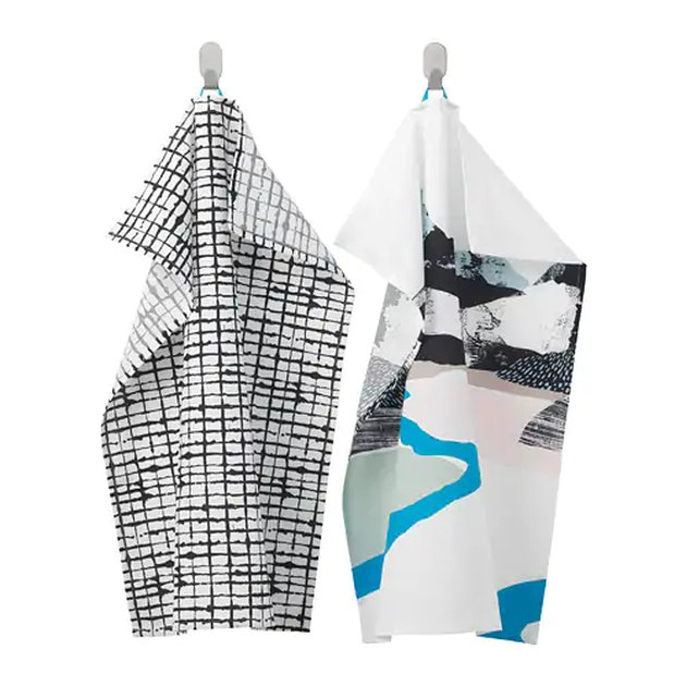 two patterned dish towels