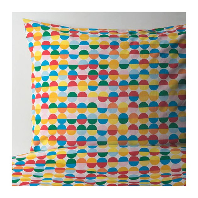 multicolored duvet cover and pillowcase