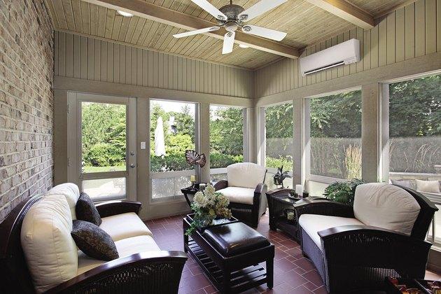 Sun porch with mini-split.