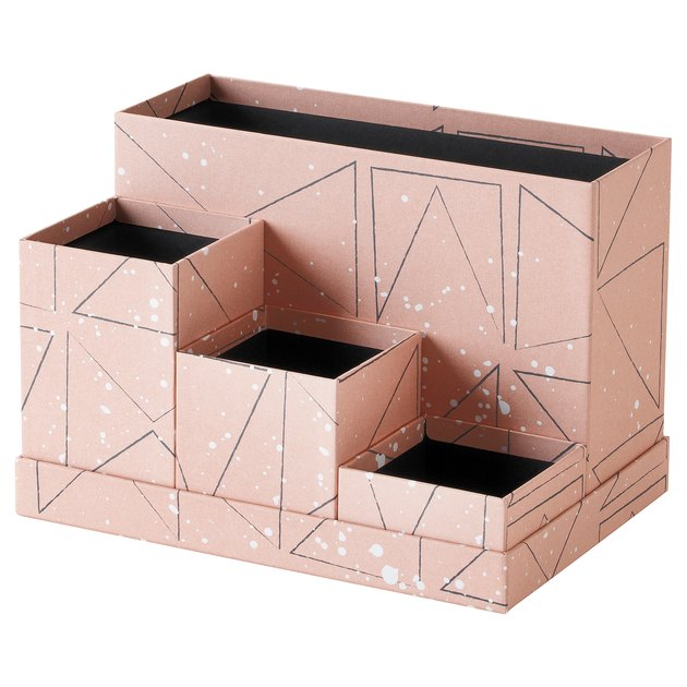 black and pink desk organizer