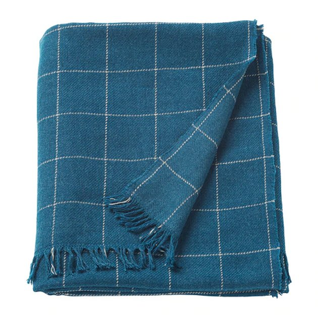 blue patterned throw blanket