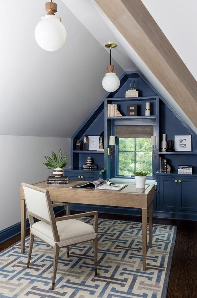 attic office idea with blue painted built-ins flanking window