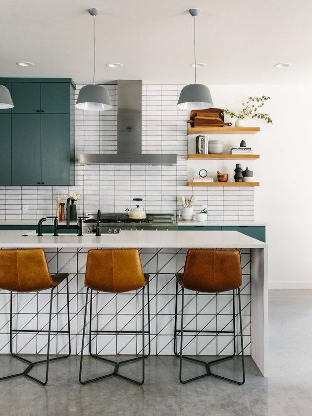 Midcentury modern chairs in a modern kitchen