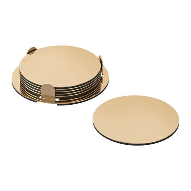 gold set of coasters
