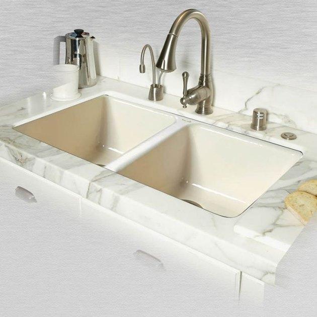 Cast iron undermount sink.