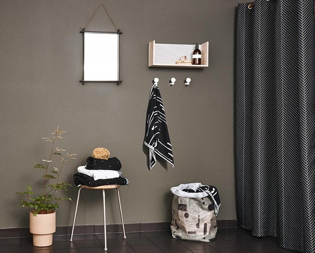Black herringbone shower curtain