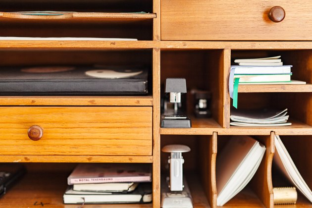 Office supplies in wood built-in
