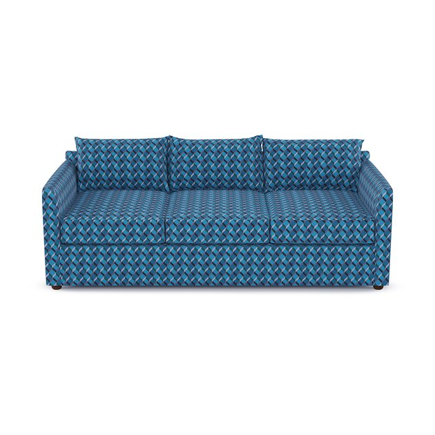 sofa with blue geometric pattern