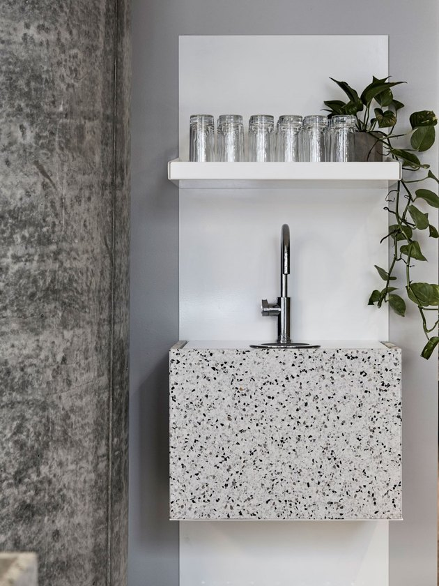 wet bar made of gray terrazzo