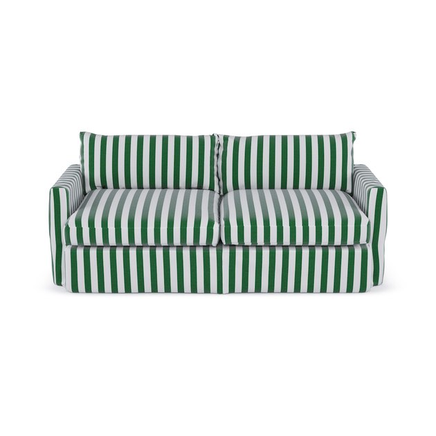 sleeper sofa in striped pattern
