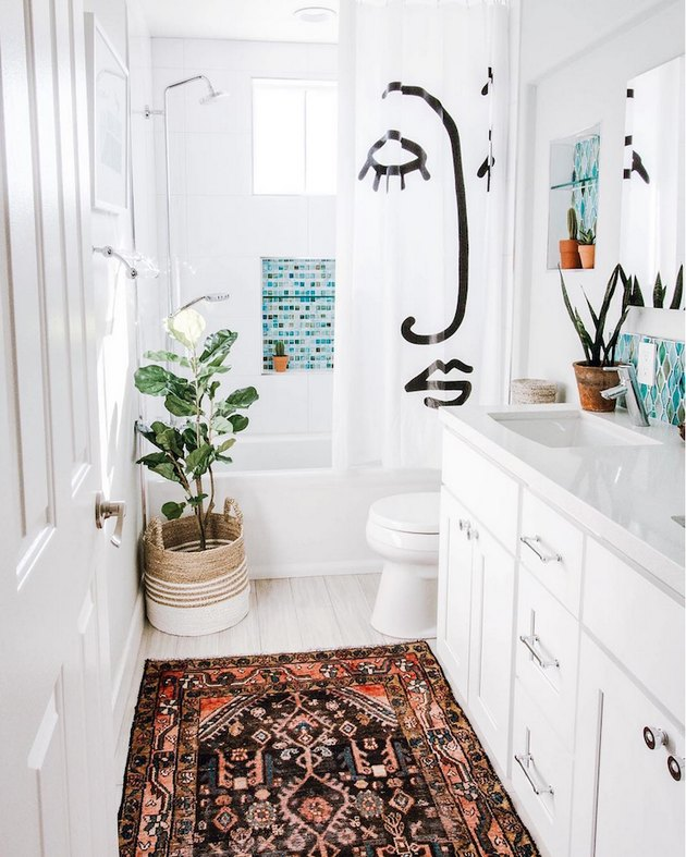 bohemian kids bathroom with face shower curtain